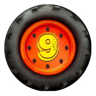 Big Truck Wheel 9th Birthday Party Invitation