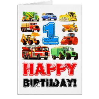 Big Trucks 1st Birthday Card