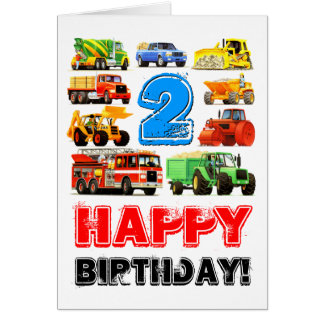 Big Trucks 2nd Birthday Card
