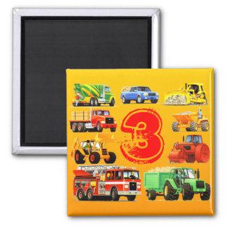 Big Trucks 3rd Birthday Fridge Magnets