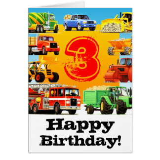 Big Trucks 3rd Birthday Party Greeting Cards