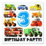 Big Trucks 3rd Birthday Party Personalized Invitations