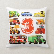 Big Trucks 3rd Birthday Pillow