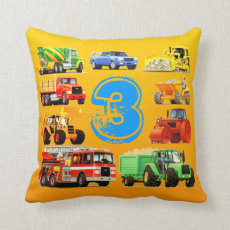 Big Trucks 3rd Birthday Throw Pillow