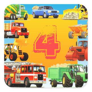Big Trucks 4th Birthday Party Custom Kids Square Sticker
