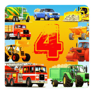 Big Trucks 4th Birthday Party Personalized Invite