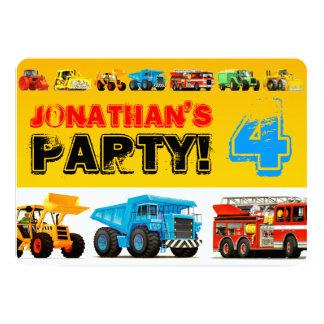 Big Trucks 4th Birthday Party Custom Invites