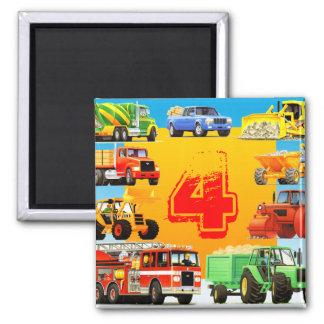 Big Trucks 4th Birthday Party Fridge Magnets