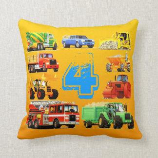 Big Trucks 4th Birthday Pillows