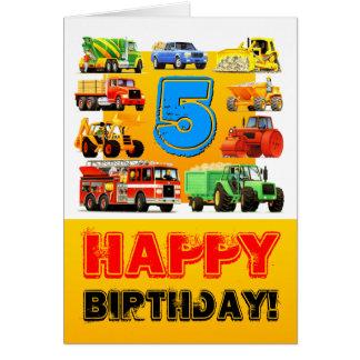 Big Trucks 5th Birthday Card