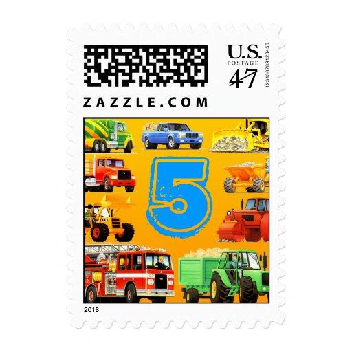 Big Trucks 5th Birthday Stamp
