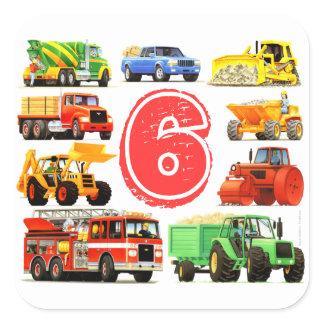 Big Trucks 6th Birthday Square Sticker