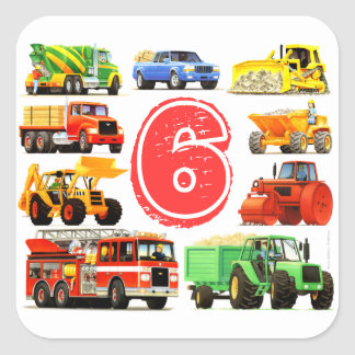 Big Trucks 6th Birthday Square Stickers