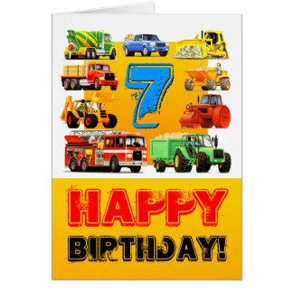 Big Trucks 7th Birthday Card