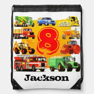 Big Trucks 8th Birthday Drawstring Bag