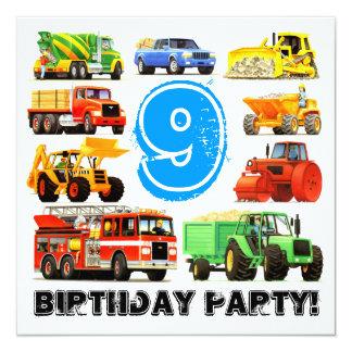 "Big Trucks 9th Birthday Party 5.25"" Square Invitation Card"