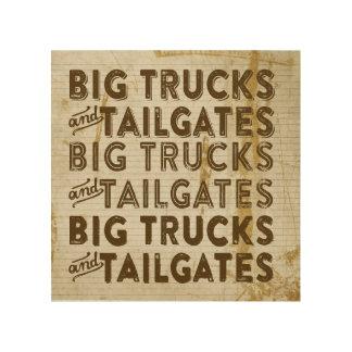 Big Trucks and Tailgates Wood Canvas
