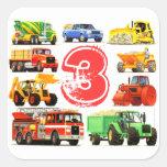 Big Trucks Boys 3rd Birthday Square Stickers