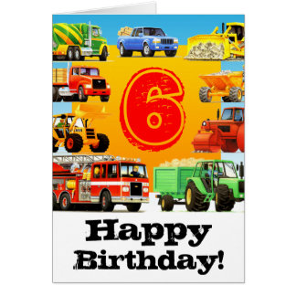 Big Trucks Boy's 6th Birthday Cards