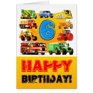 Big Trucks Boy's 6th Birthday Card