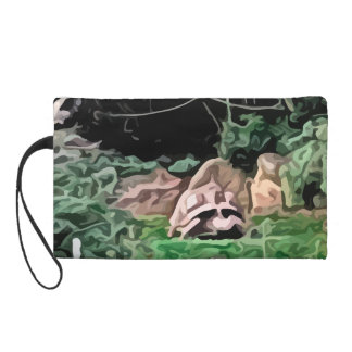 big turtle painting wristlet purse