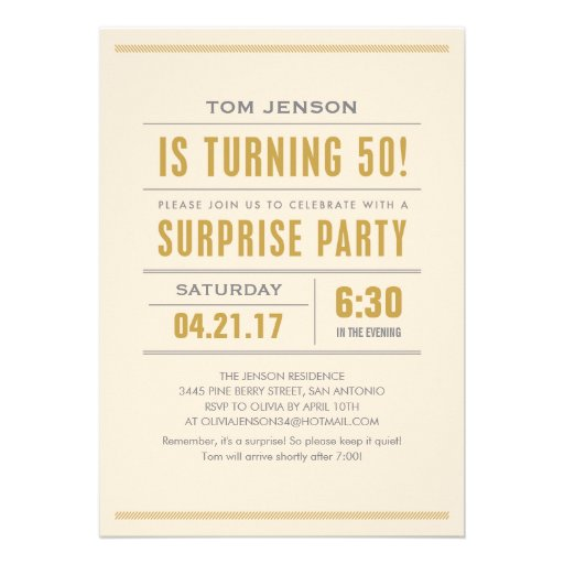Personalized 50th birthday party men gold Invitations – 50th Birthday Surprise Invitations
