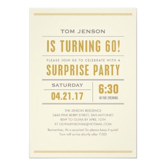 Big Type 60th Birthday Surprise Party Invitations Zazzle Com
