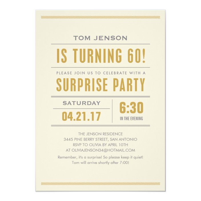 Type 60th Birthday Surprise Party