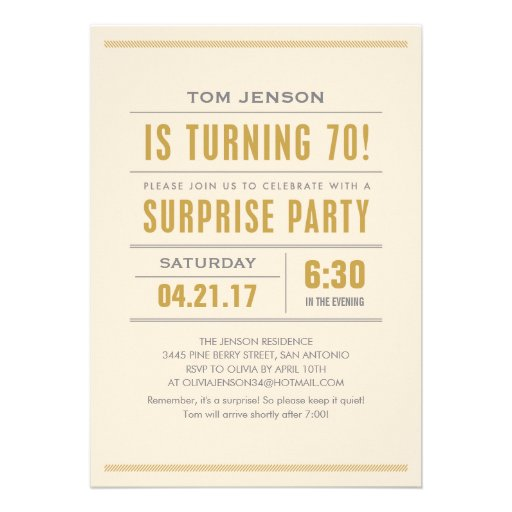 Big Type 70th Birthday Surprise Party Invitations