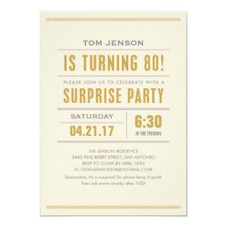 "Big Type 80th Surprise Birthday Party Invitations 5"" X 7"" Invitation Card"