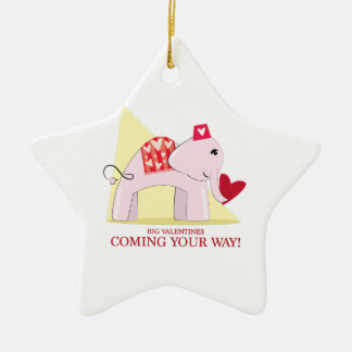 Big Valentines Double-Sided Star Ceramic Christmas Ornament