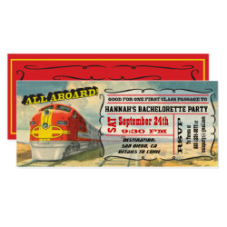 BIG Vintage Train Ticket Bachelorette Party Card