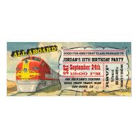 Train ticket invitations announcements zazzle big vintage train ticket birthday party filmwisefo
