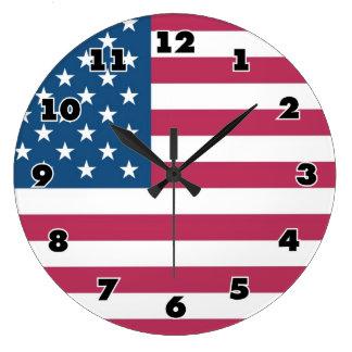 Big wall clock with american flag