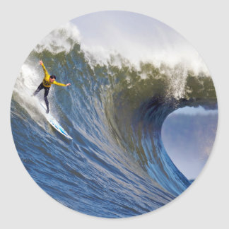 Big Wave at the Mavericks Surfing Competition Classic Round Sticker