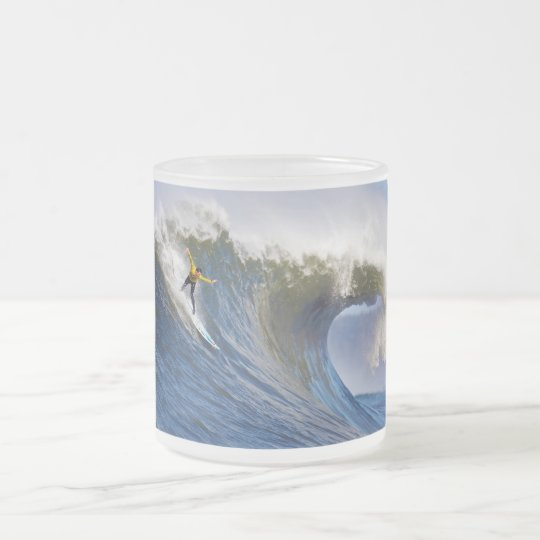 Big Wave at the Mavericks Surfing Competition Frosted Glass Coffee Mug