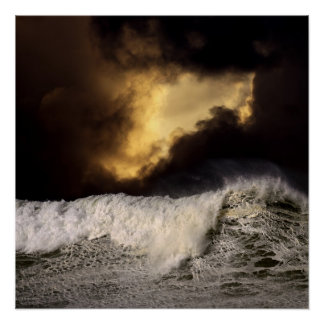 Big Wave Night Sky Poster