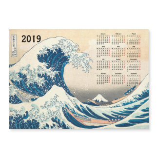 Big Wave off Kanagawa 2019 calendar magnetic card