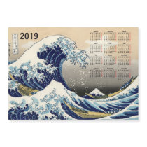 Big Wave off Kanagawa 2019 calendar magnetic card