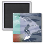 BIG WAVE RIDER BY GREGORY GALLO 2 INCH SQUARE MAGNET