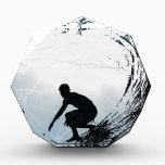 """Big Wave Surfer Acrylic Award<br><div class=""""desc"""">Designed for surfers,  add name/custom text if needed. Image &#169;riverme*2012.</div>"""