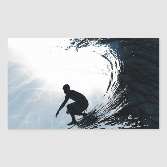 Big Wave Surfer Rectangular Sticker