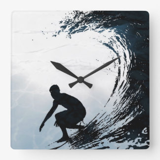 Big Wave Surfer Square Wall Clock