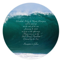 Big Wave Teal Sea Custom Round Wedding Invitation