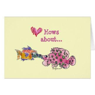 Big Wet Kiss Cartoon Fish Greeting Card
