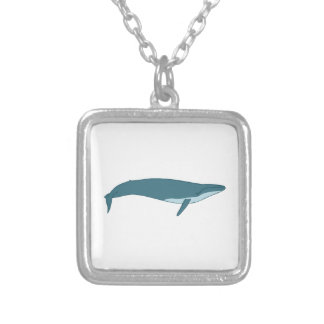 Big whale silver plated necklace