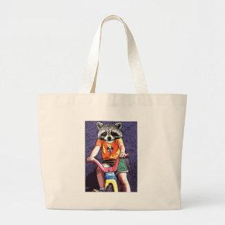 Big Wheel Raccoon Canvas Bag