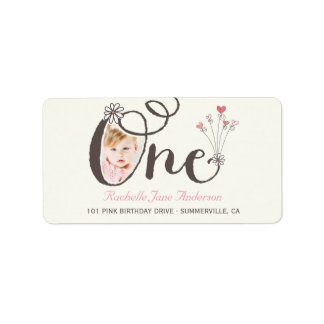 Big Whimsical One Baby Girl 1st Birthday Photo Address Label