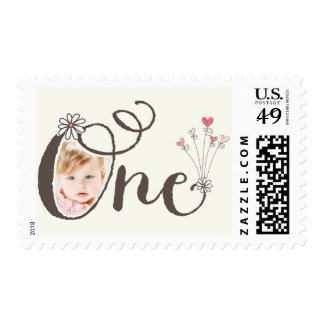 Big Whimsical One Baby Girl First Birthday Photo Postage