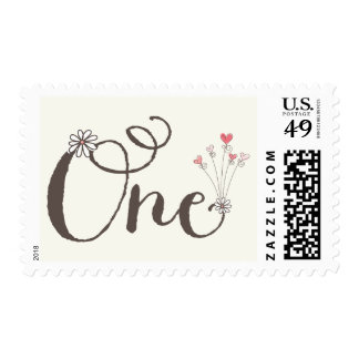 Big Whimsical One Hearts Girl 1st Birthday Stamps